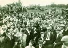 """Scene from 1913 """"Eisenbahnfest,"""" which marked the first train rolling into Fredericksburg. Banker Temple Smith drove a gold spike to symbolize the end of the rail line. — Standard-Radio Post file photo"""